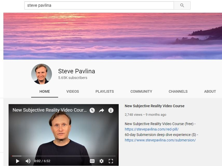 Steve Pavlina's personal and branded channel