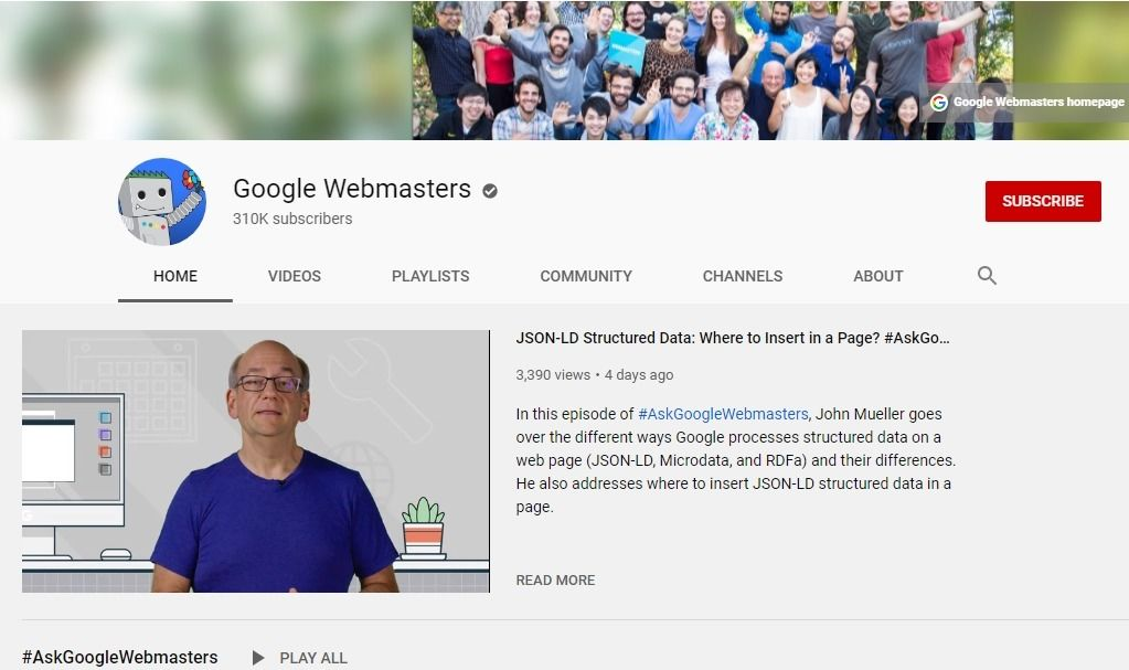 Google webmasters official YouTube channel