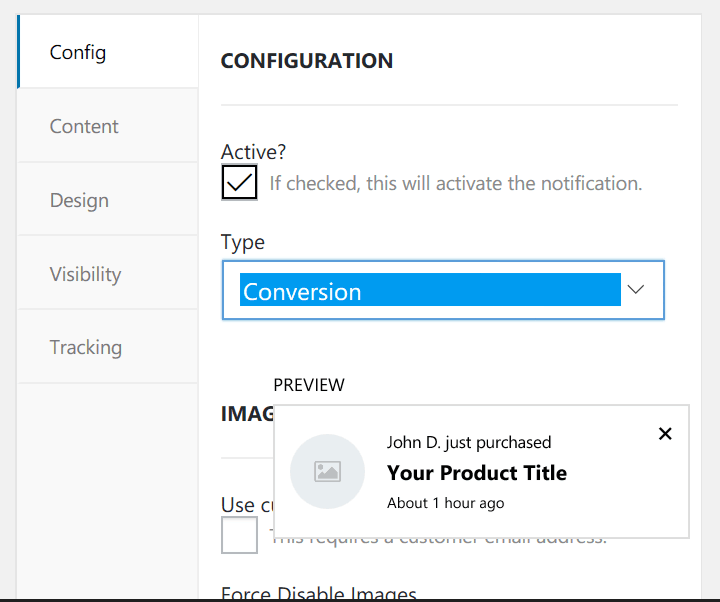 Preview of conversion settings of wpfomify