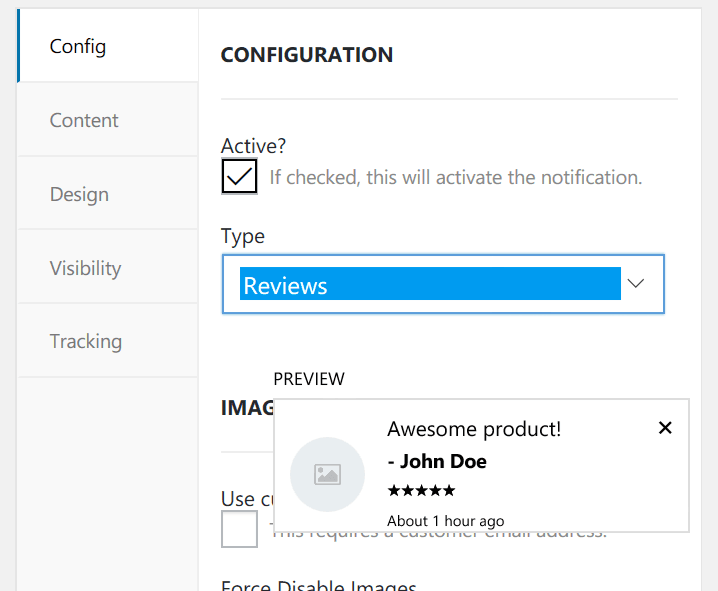 Preview of reviews settings of wpfomify