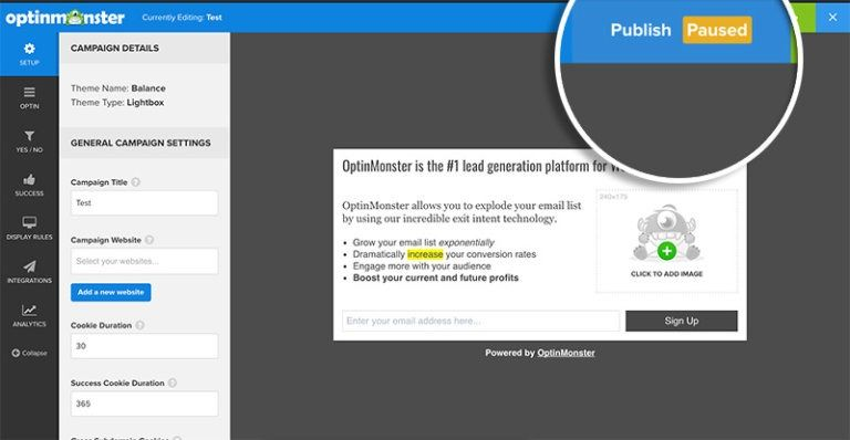 Turn pause button to publish