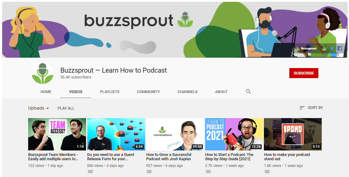 Buzzsprout's Youtube channel
