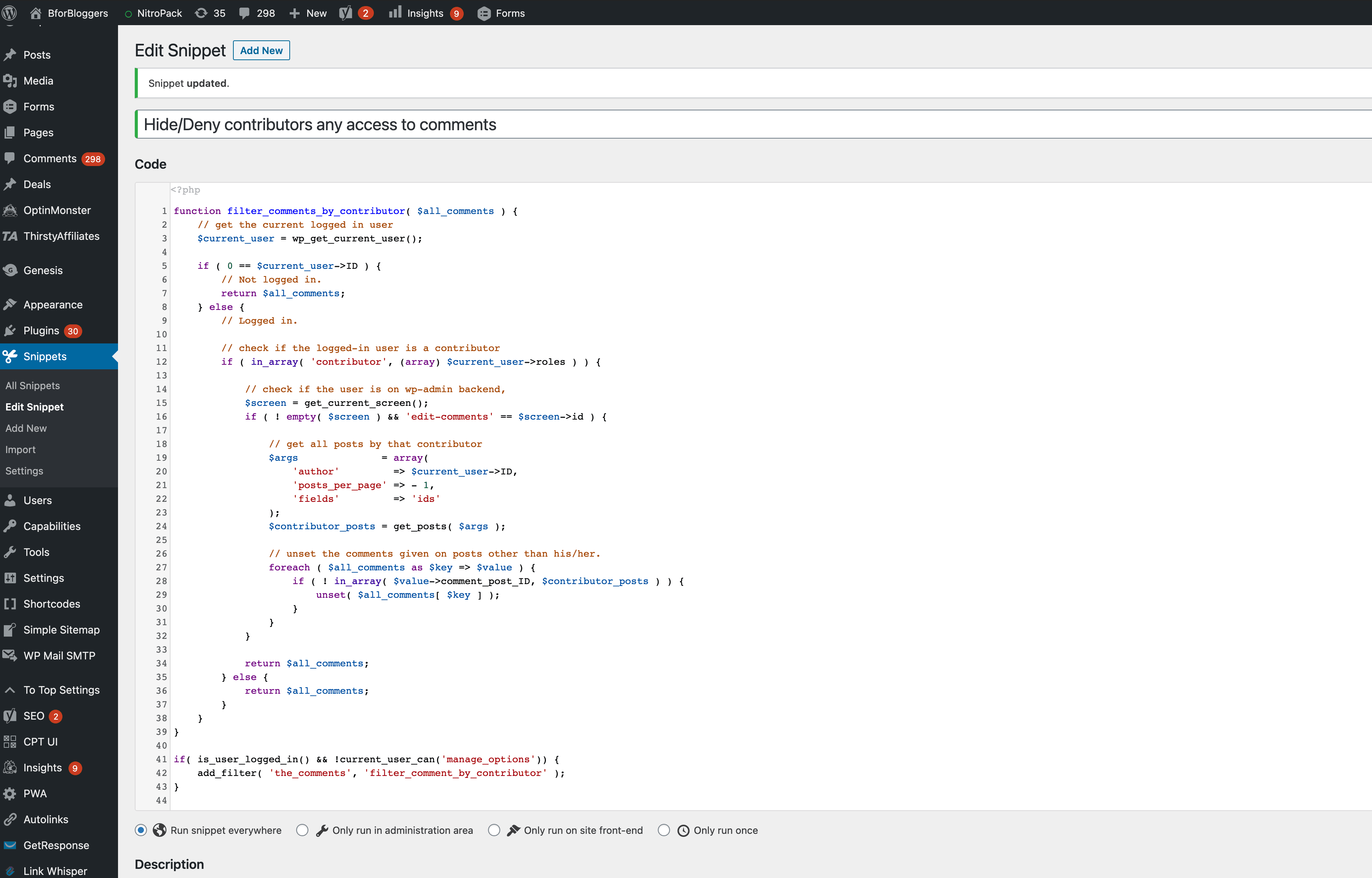 code snippets hide comments php code