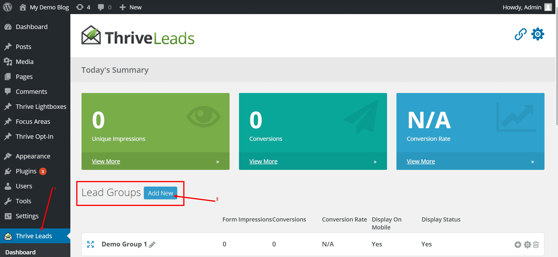 Thrive leads : step 1: click on campaign