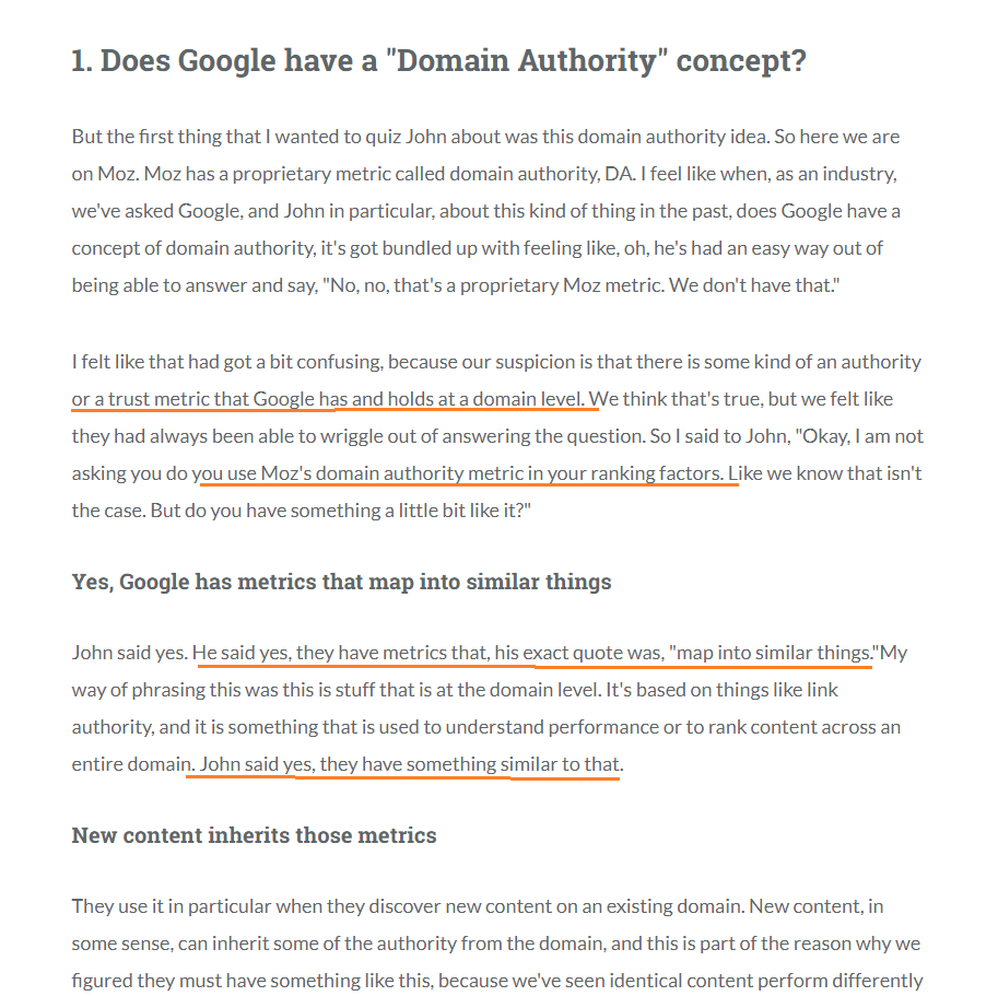 Domain authority from Google's perspective