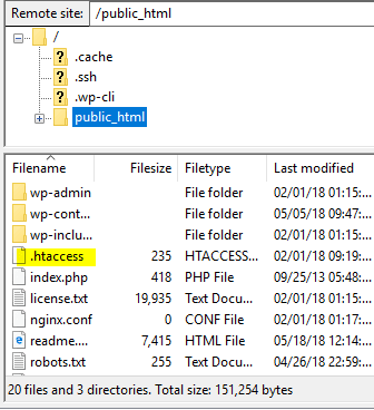 how to edit .htaccess file when wp-admin redirects or refreshes