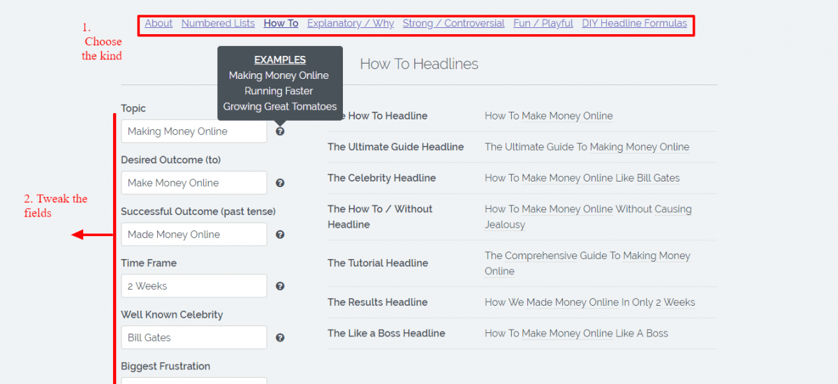 Kickass Headline Generator for Increasing Conversions and get ideas for new posts