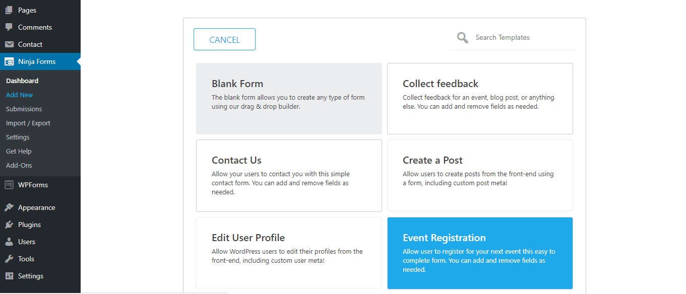 in your ninja forms new menu, select add new contact form