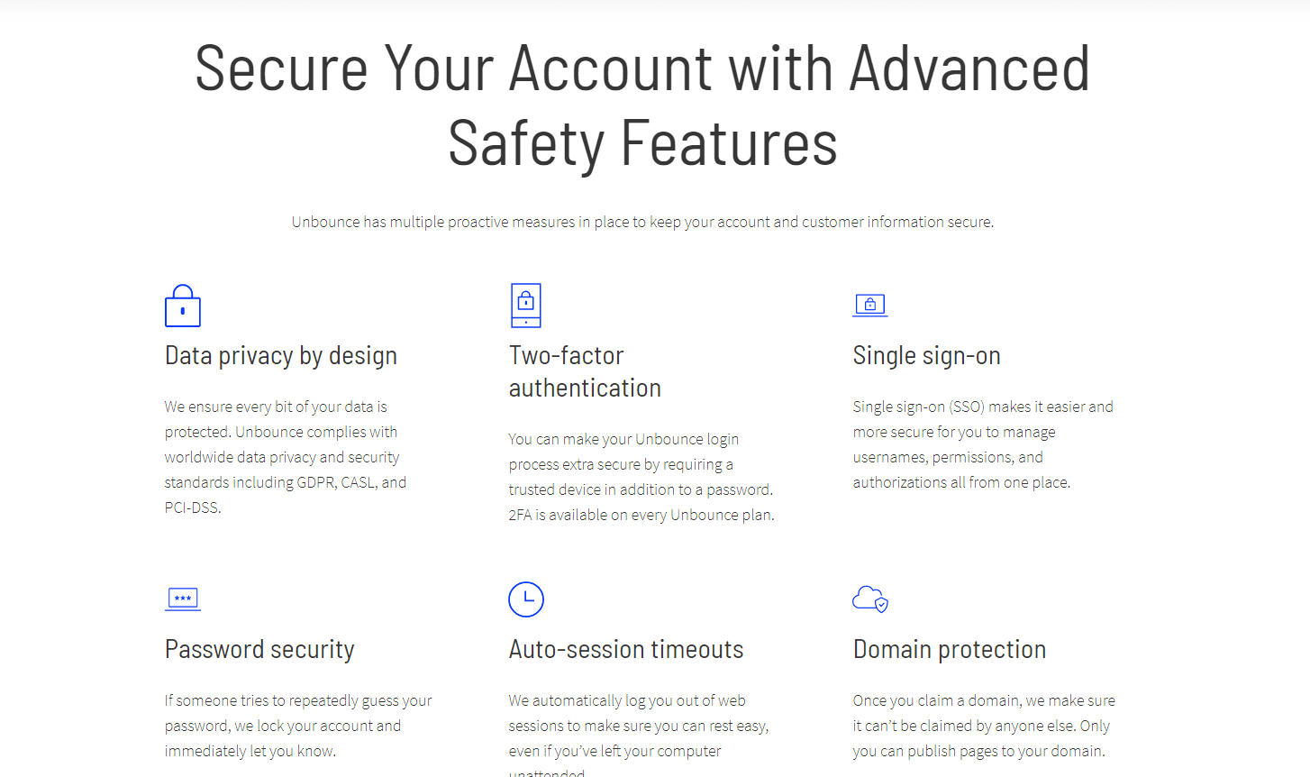 Unbounce is secure to use