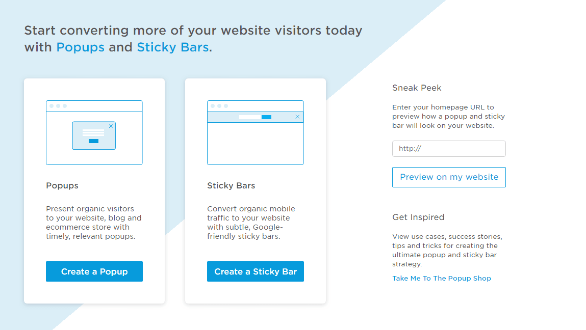 Popups and sticky bars- features of Unbounce