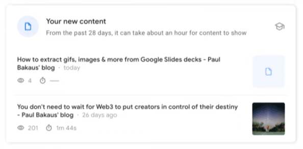 Search Console Insights new content