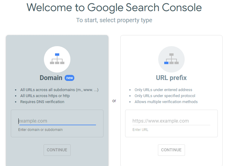 Search Console start