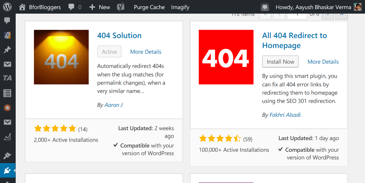 Download and install 404 solution plugin