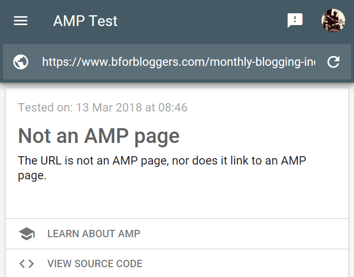 Sample of bforbloggers post as no amp page