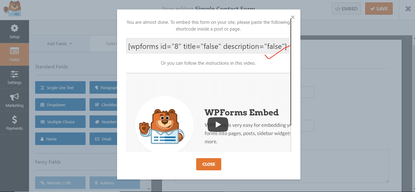 embed the form by copying this shortcode